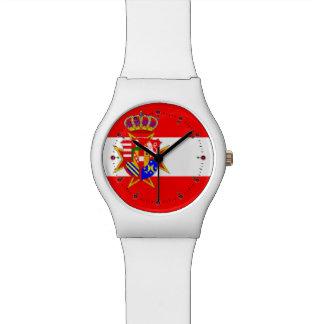 Ducado magnífico de la bandera blanca roja de Tosc Reloj De Mano
