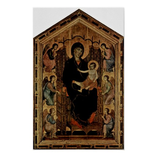 Duccio Buoninsegna - Enthroned Madonna and Angels Posters