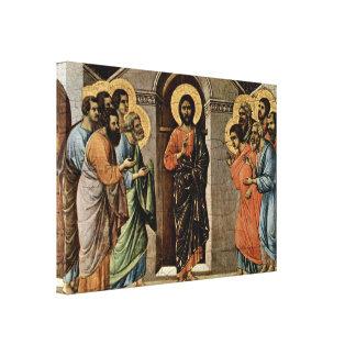 Duccio di Buoninsegna - Christ appears to Apostles Stretched Canvas Print