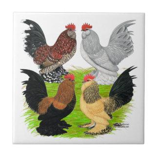 D'Uccles cuatro gallos Azulejo Cuadrado Pequeño