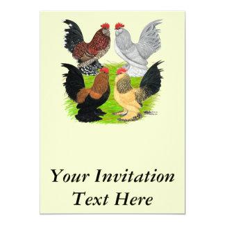 """D'Uccles cuatro gallos Invitación 5"""" X 7"""""""