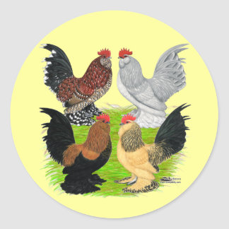 D'Uccles Four Roosters Classic Round Sticker
