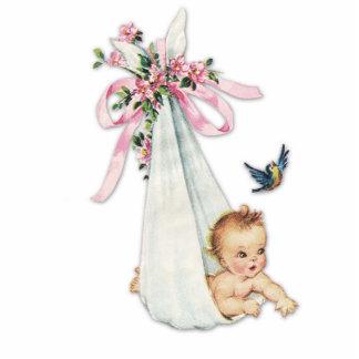 Ducha adorable de la niña del rosa del vintage escultura fotografica