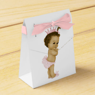 Ducha afroamericana de la princesa rosada niña cajas para detalles de boda