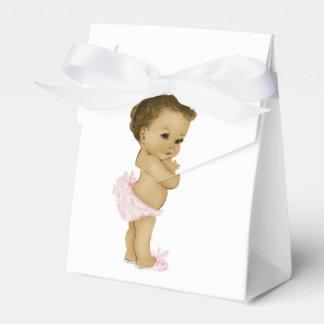 Ducha afroamericana rosada de la niña cajas para detalles de boda