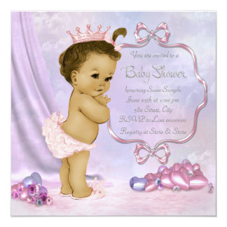 Ducha afroamericana rosada y púrpura de la niña comunicado personalizado