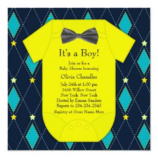 """Ducha amarilla azul del bebé de Argyle Invitación 5.25"""" X 5.25"""""""