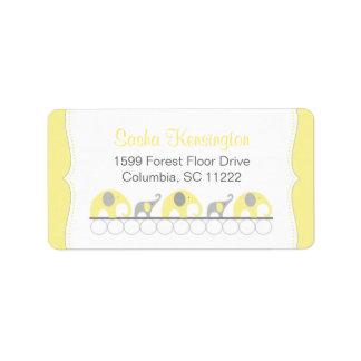 Ducha amarilla y gris de la niña de los elefantes etiquetas de dirección