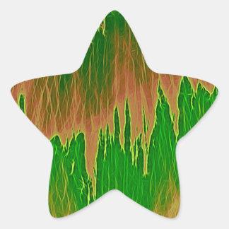 ducha anaranjada verde pegatina en forma de estrella