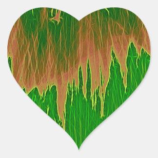 ducha anaranjada verde pegatina en forma de corazón
