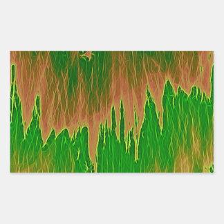 ducha anaranjada verde pegatina rectangular