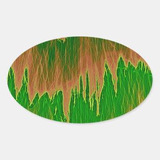 ducha anaranjada verde pegatina ovalada