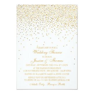 """Ducha atractiva del boda del confeti del oro del invitación 5"""" x 7"""""""