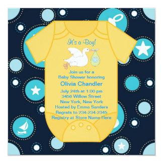 """Ducha azul amarilla del bebé de la cigüeña invitación 5.25"""" x 5.25"""""""