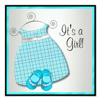 """Ducha azul de la niña del trullo azul de los invitación 5.25"""" x 5.25"""""""