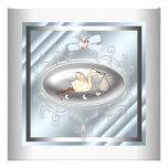 Ducha azul de plata del bebé de la cigüeña comunicado