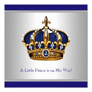 """Ducha azul de plata del bebé del Príncipe heredero Invitación 5.25"""" X 5.25"""""""