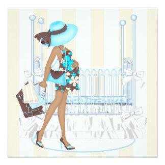 Ducha azul del bebé de Brown Invitación