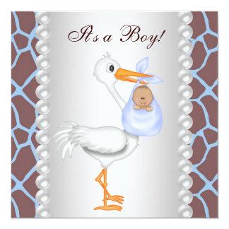 Ducha azul del bebé de la cigüeña de la jirafa de anuncios