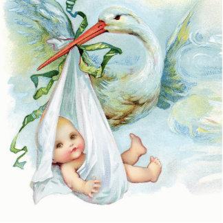 Ducha azul del bebé de la cigüeña del vintage dulc fotoescultura vertical