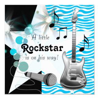 """Ducha azul del bebé de la estrella del rock de la invitación 5.25"""" x 5.25"""""""