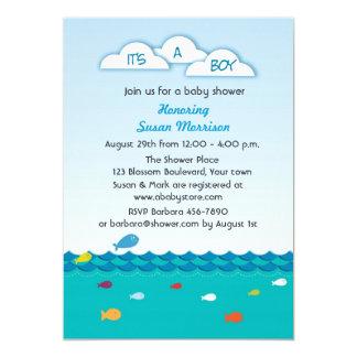 """Ducha azul del bebé de los pescados invitación 5"""" x 7"""""""
