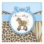 Ducha azul del bebé del caballo mecedora de Brown Invitacion Personalizada