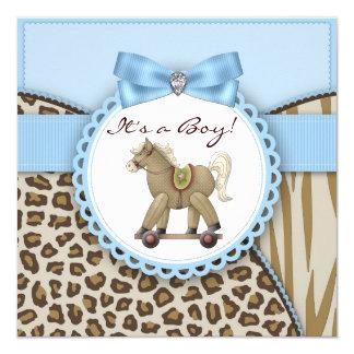 """Ducha azul del bebé del caballo mecedora de Brown Invitación 5.25"""" X 5.25"""""""