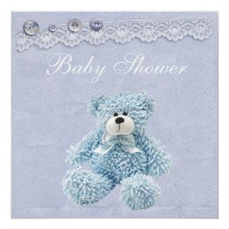 Ducha azul del bebé del cordón del vintage del oso invitación 13,3 cm x 13,3cm