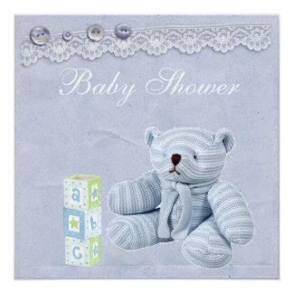 """Ducha azul del bebé del cordón del vintage del oso invitación 5.25"""" x 5.25"""""""