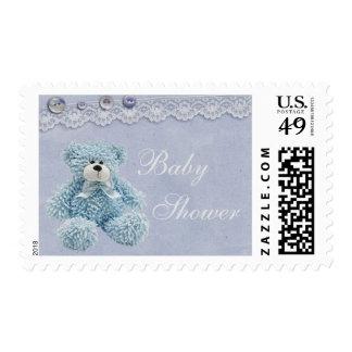 Ducha azul del bebé del cordón del vintage del oso sello postal