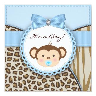 Ducha azul del bebé del mono de Brown Invitación 13,3 Cm X 13,3cm
