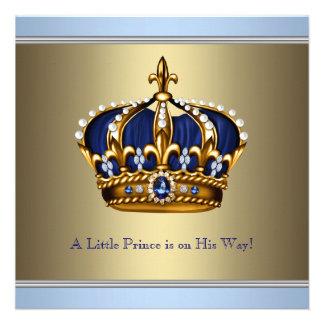 Ducha azul del bebé del Príncipe heredero del oro Invitacion Personalizada