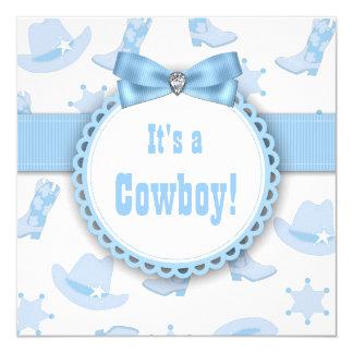 """Ducha azul del bebé del vaquero invitación 5.25"""" x 5.25"""""""
