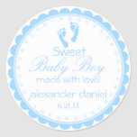 Ducha azul del Huella-Bebé Etiquetas Redondas