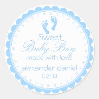 Ducha azul del Huella-Bebé Etiquetas