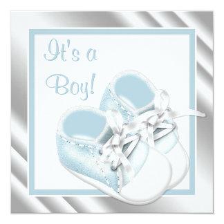 """Ducha azul elegante del bebé de los zapatos invitación 5.25"""" x 5.25"""""""
