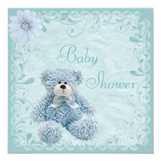 """Ducha azul elegante del bebé del peluche invitación 5.25"""" x 5.25"""""""