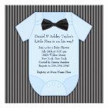 Ducha azul negra del bebé de la tela a rayas anuncio
