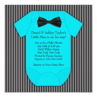 """Ducha azul negra del bebé de la tela a rayas invitación 5.25"""" x 5.25"""""""