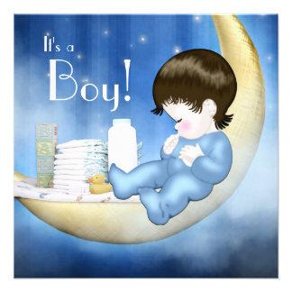 Ducha azul y amarilla del bebé de la luna