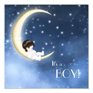"""Ducha azul y amarilla del bebé de la luna invitación 5.25"""" x 5.25"""""""