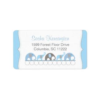 Ducha azul y gris del bebé de los elefantes etiquetas de dirección