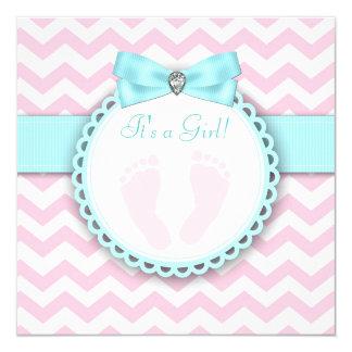 """Ducha azul y rosada del trullo de la huella de la invitación 5.25"""" x 5.25"""""""