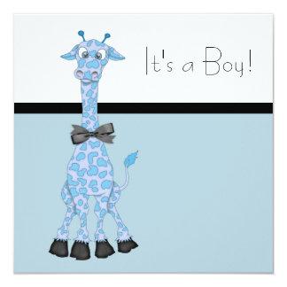 Ducha banal azul negra del bebé de la jirafa invitación personalizada