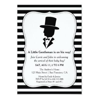 Ducha blanca negra elegante del bebé del caballero invitación 11,4 x 15,8 cm
