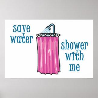 Ducha conmigo - agua de la reserva póster