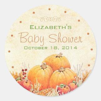 Ducha de bebé del otoño pegatina redonda