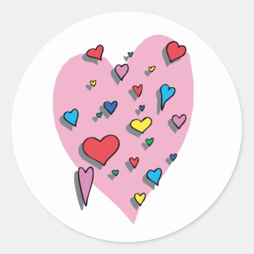 Ducha de corazones coloridos pegatina redonda