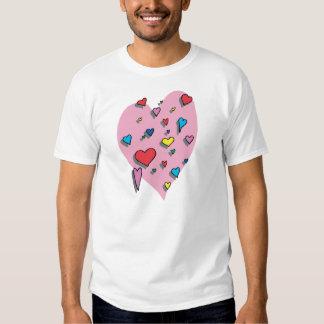 Ducha de corazones coloridos remeras